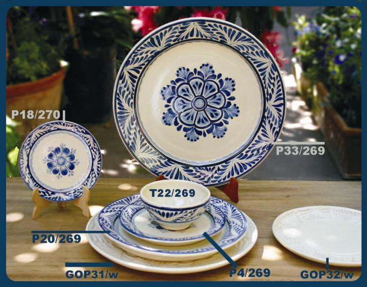 mexican ceramic mexican potttery folk art talavera Gorky Gonzalez Blue Flower Collection 3