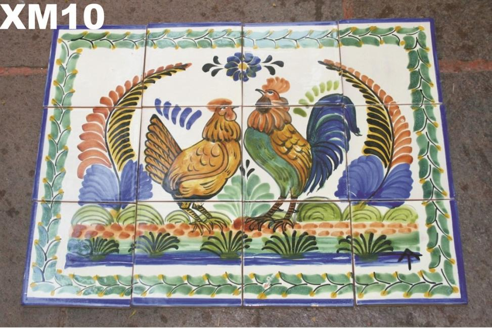 mexican ceramic mexican potttery folk art talavera Gorky Gonzalez Wall of Tiles<br>Rooster Family