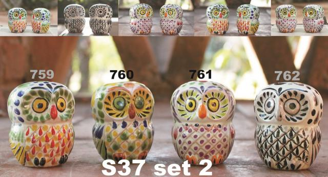mexican ceramic mexican potttery folk art talavera Gorky Gonzalez Owl<br>Salt & Pepper Set