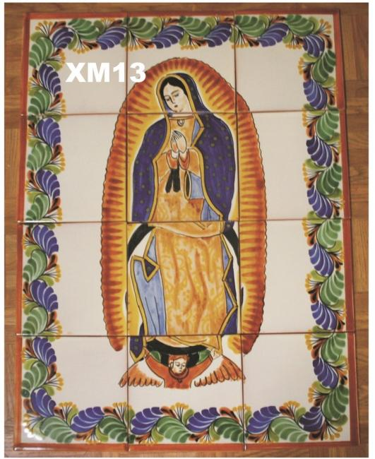 mexican ceramic mexican potttery folk art talavera Gorky Gonzalez Virgin of Guadalupe<br>Wall of Tiles