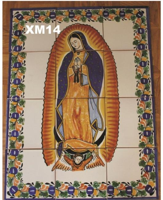 mexican ceramic mexican potttery folk art talavera Gorky Gonzalez Virgin of Guadalupe<br>Wall of Tiles II