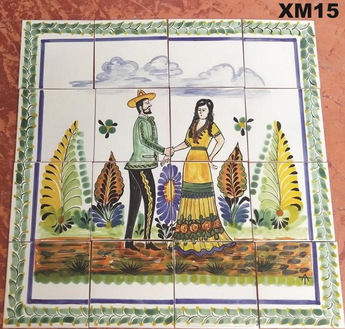 Gorky Gonzalez / GorkyPottery Wedding Charros<br>in Wall Tile