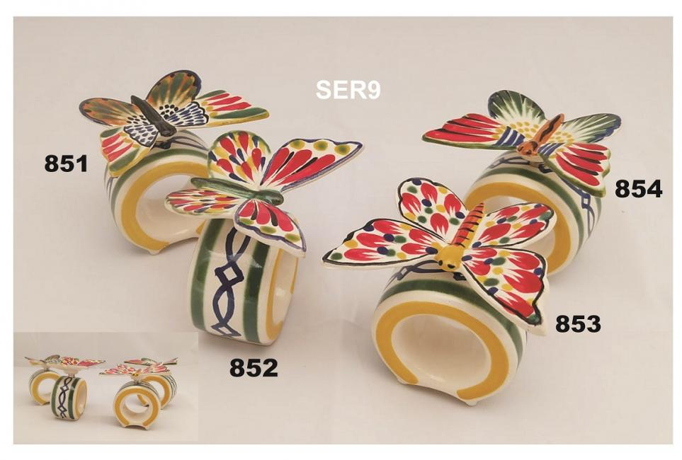mexican ceramic mexican potttery folk art talavera Gorky Gonzalez Napking Ring<br>w/Butterfly