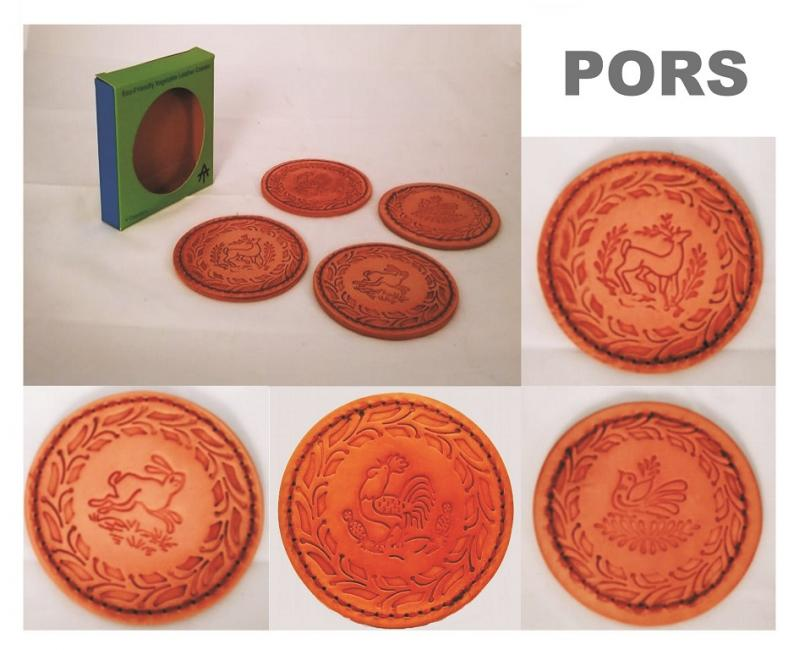 Gorky Gonzalez / GorkyPottery Leather Coaster Set of 4