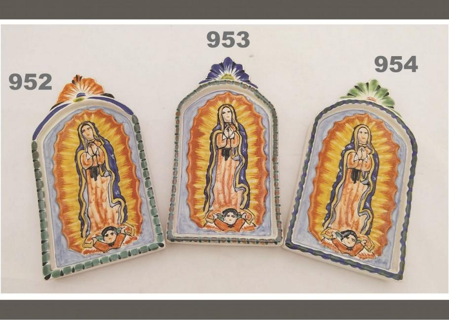 mexican ceramic mexican potttery folk art talavera Gorky Gonzalez Small Virgin of Guadalupe<br>ALTAR PIECE