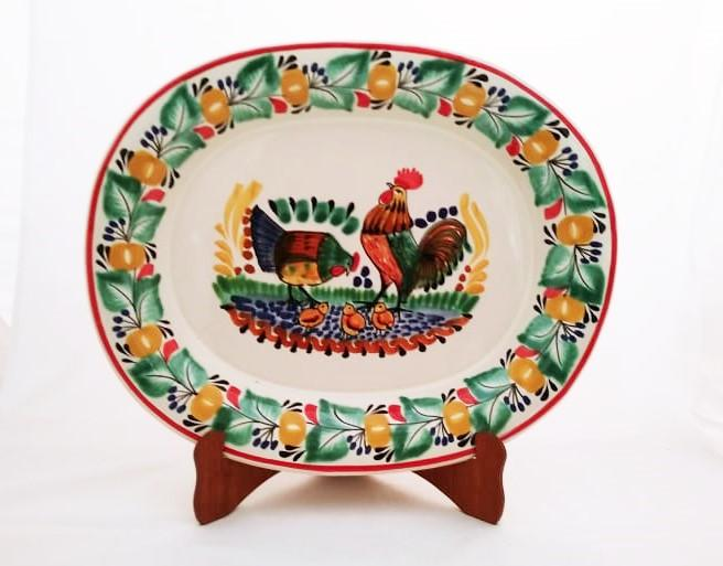 mexican ceramic mexican potttery folk art talavera Gorky Gonzalez Semi Oval Platter<br>Rooster Family<br>Green-Terracota Colors