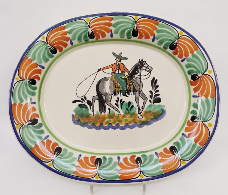 mexican ceramic mexican potttery folk art talavera Gorky Gonzalez Semi Oval Platter Cowboy<br>Green-Terracota Colors
