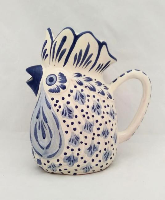 mexican ceramic mexican potttery folk art talavera Gorky Gonzalez Large Rooster Water Jar<br>Blue and White