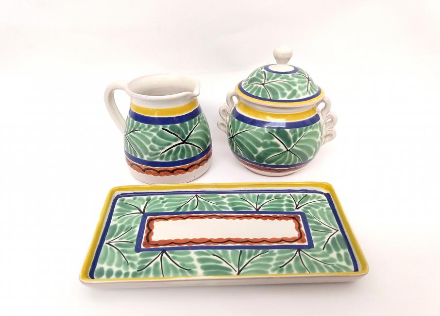 mexican ceramic mexican potttery folk art talavera Gorky Gonzalez Sugar and Cream Set<br>Green-Blue Colors