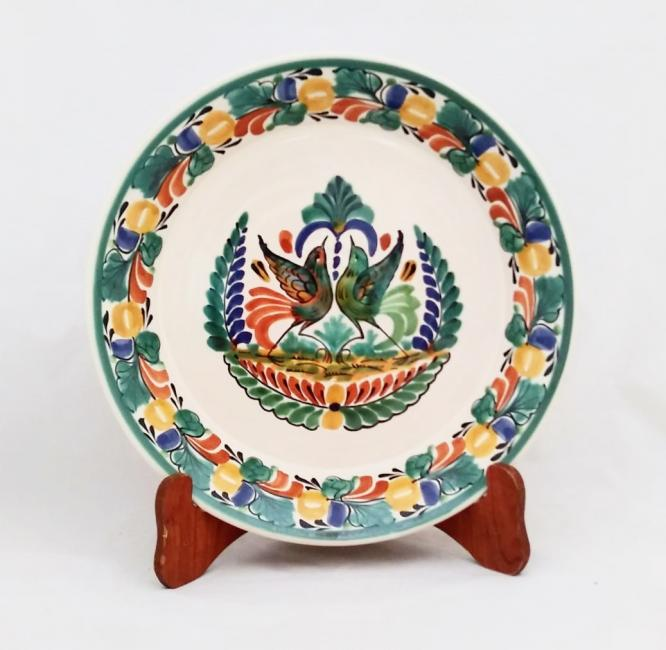 mexican ceramic mexican potttery folk art talavera Gorky Gonzalez Round Platter<br>Love Birds<br>Traditional Colors