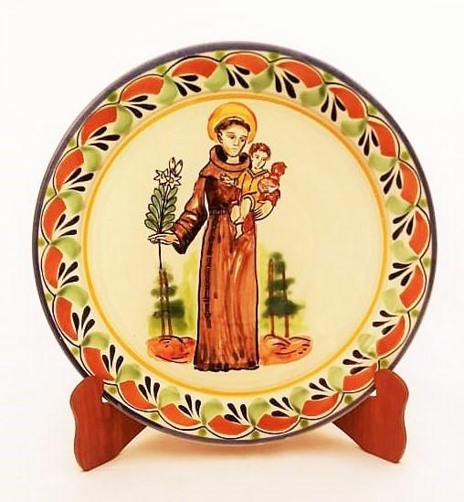 mexican ceramic mexican potttery folk art talavera Gorky Gonzalez Large Dinner Plate 12 in D<br>Saint Antonio