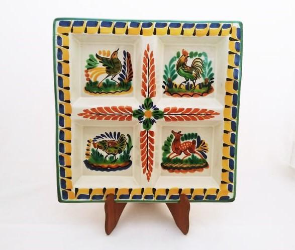 mexican ceramic mexican potttery folk art talavera Gorky Gonzalez Square Tray<br>Asst Animals<br>Yellow-Blue Colors