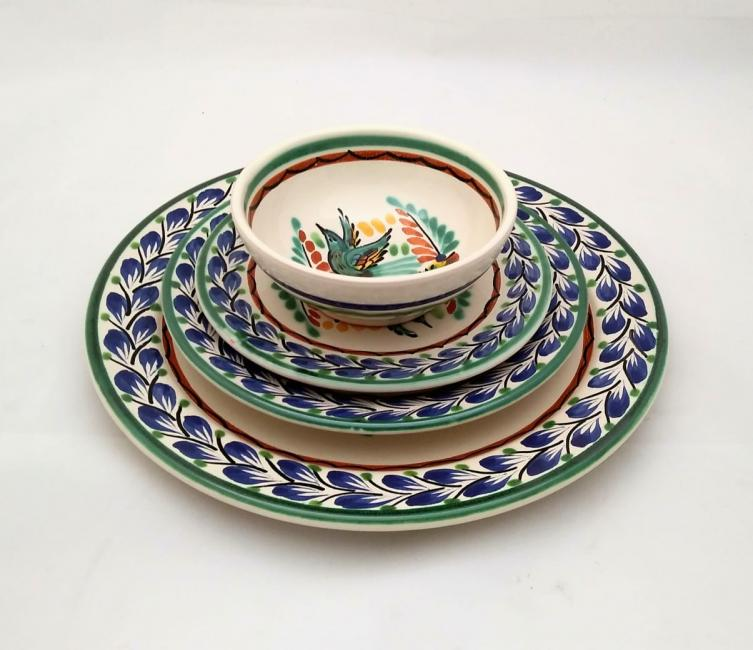 mexican ceramic mexican potttery folk art talavera Gorky Gonzalez Dish Set Bird<br>Blue-Green