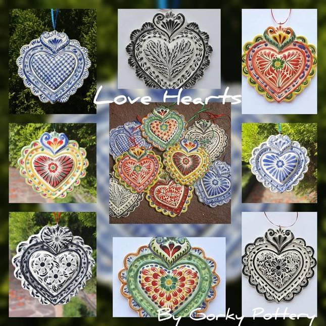 mexican ceramic mexican potttery folk art talavera Gorky Gonzalez Love Heart Ornament