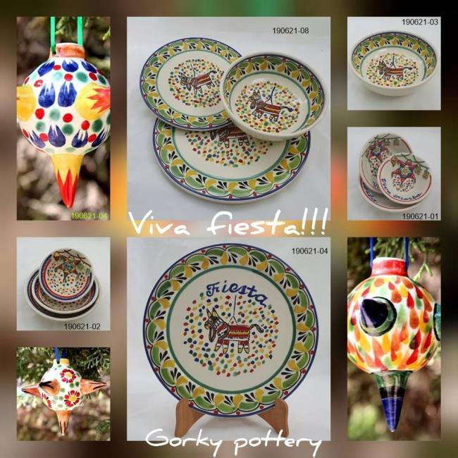 mexican ceramic mexican potttery folk art talavera Gorky Gonzalez Party Collection
