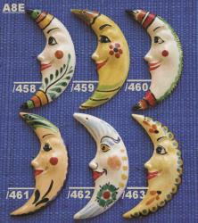 mexican ceramic mexican potttery folk art talavera Gorky Gonzalez MOON ORNAMENTS