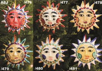 mexican ceramic mexican potttery folk art talavera Gorky Gonzalez NEW SUN ORNAMENTS