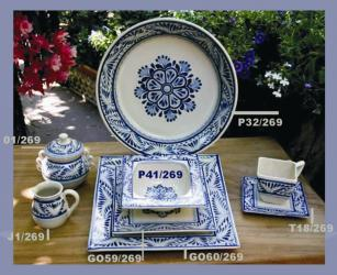 mexican pottery mexican ceramic folk art talavera Blue Flower Collection 1