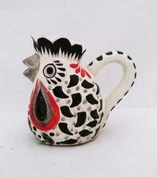 190322-01-mexican-ceramic-pottery-folk-art-creamer-rooster-majolica-hand-made-mexico-black