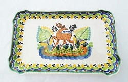 190611-11-mexican-ceramic-pottery-hand-painted-deer-motive-tray-serving-tableware