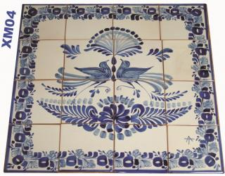 mexican ceramic mexican potttery folk art talavera Gorky Gonzalez Wall of Tiles<br>Love Birds<br>Blue and White