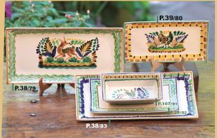 mexican pottery mexican ceramic folk art talavera Rectangular Plates