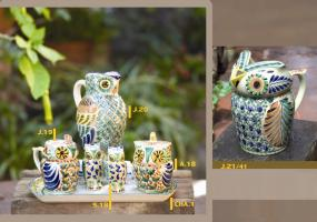 mexican pottery mexican ceramic folk art talavera Owl Set
