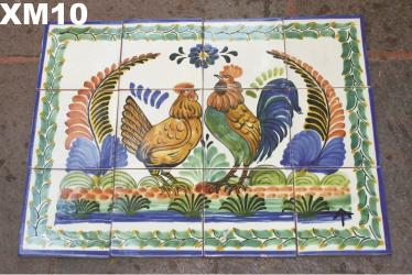 Gorky Gonzalez / Gorky Pottery Wall of Tiles<br>Rooster Family