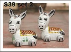 mexican ceramic mexican potttery folk art talavera Gorky Gonzalez Donkey<br>Salt & Pepper Set