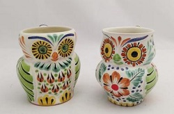 mexican pottery mexican ceramic folk art talavera Perfect Couple<br>Owl Coffe Mug<br>Green-Terracota