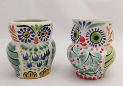 mexican pottery mexican ceramic folk art talavera Perfect Couple<br>Owl Coffe Mug<br>Blue-Green