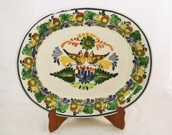 mexican ceramic mexican potttery folk art talavera Gorky Gonzalez Semi Oval Platter<br>Two Loves Birds<br>Green-Yellow Colors