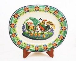 mexican pottery mexican ceramic folk art talavera Semi Oval Platter<br>Rooster Family