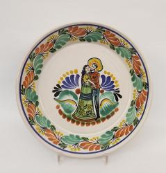 Mexican pottery mexican ceramic folk art Round Platter Deep <br> Green-Terracota Colors
