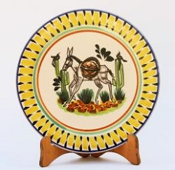 mexican pottery mexican ceramic folk art talavera Donkey<br> Dinner Plate