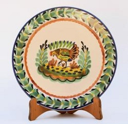 Mexican pottery mexican ceramic folk art Hen Dinner Plate