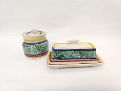mexican pottery mexican ceramic folk art talavera Butter Dish and<br>Jam Jar<br>Green-Blue Colors