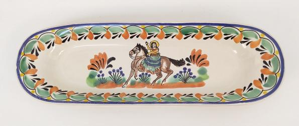 Mexican pottery mexican ceramic folk art CowGirl Oval Long Plate