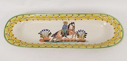 Mexican pottery mexican ceramic folk art CowBoy Oval Long Plate