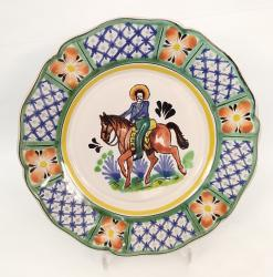 Mexican pottery mexican ceramic folk art CowBoy Flower Plate Shape