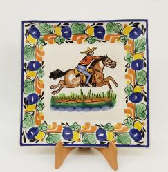 Mexican pottery mexican ceramic folk art CowBoy Large Square Plate