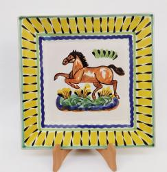 Mexican pottery mexican ceramic folk art Horse Large Square Plate