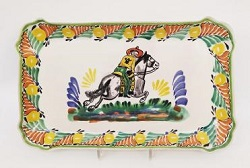 Mexican pottery mexican ceramic folk art CowBoy Rectangular Platter