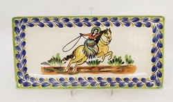 Mexican pottery mexican ceramic folk art CowGirl Large Rectangular Plate