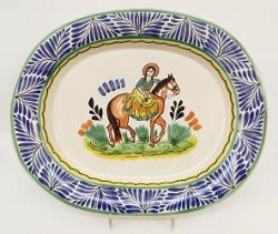 Mexican pottery mexican ceramic folk art CowGirl Semi Oval Platter