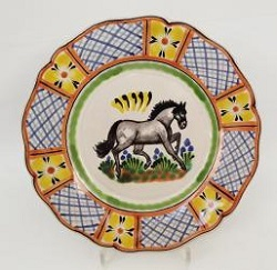 Mexican pottery mexican ceramic folk art Horse Flower Plate Shape