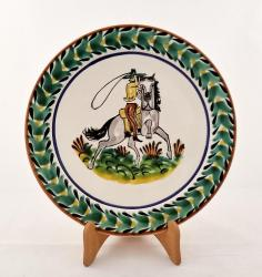 Mexican pottery mexican ceramic folk art CowBoy Dinner Plate