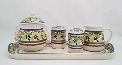 Gorky Gonzalez / GorkyPottery Sugar Set (5 pieces)<br>Green-Yellow-Blue Colors