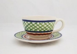 mexican ceramic mexican potttery folk art talavera Gorky Gonzalez Cup & Saucer<br>Lemon Green-Blue Colors