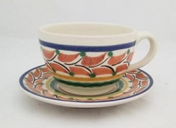 mexican ceramic mexican potttery folk art talavera Gorky Gonzalez Cup & Saucer<br>Terracota-Blue Colors